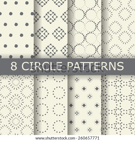 8 different  black white dotted, circle seamless patterns, vintage and classic style,  Pattern Swatches, vector, Endless texture can be used for wallpaper, pattern fills, web page,background,surface - stock vector