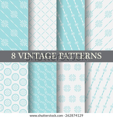 8 different blue elegant  patterns, vintage and classic style,  Pattern Swatches, vector, Endless texture can be used for wallpaper, pattern fills, web page,background,surface - stock vector