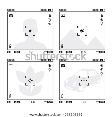 4 different cameras viewfinder display  - stock vector