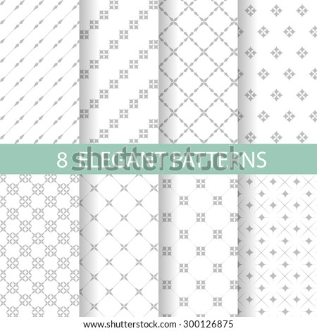 8 different classic blue and white patterns. Endless texture can be used for wallpaper, pattern fills, web page background,surface textures. - stock vector