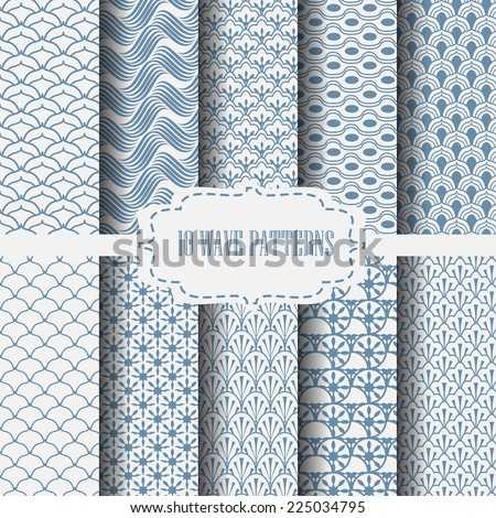 10 different classic wave vector patterns. Endless texture can be used for wallpaper, pattern fills, web page background,surface textures. - stock vector