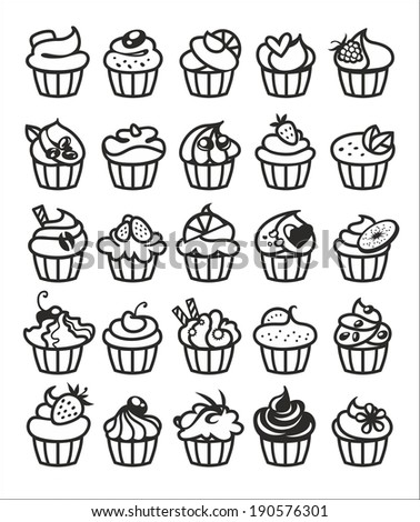 9 different colorful delicious cupcakes vector illustration - stock vector