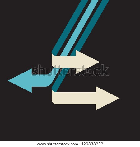 different directions: opposite choices to make - stock vector
