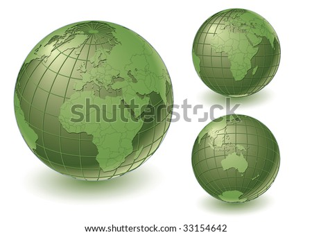3 different earth views with country borders. Highly detailed. Vector version with separate layers for globe, grid, continents and borders, fully editable. - stock vector