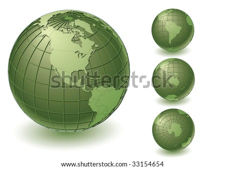 4 different earth views with country borders. Highly detailed. Vector version with separate layers for globe, grid, continents and borders, fully editable. - stock vector