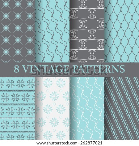 8 different elegant  patterns, vintage and classic style,  Pattern Swatches, vector, Endless texture can be used for wallpaper, pattern fills, web page,background,surface - stock vector