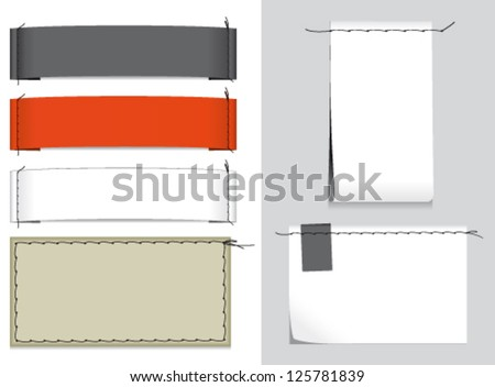 6 different fabric labels with stitching - stock vector