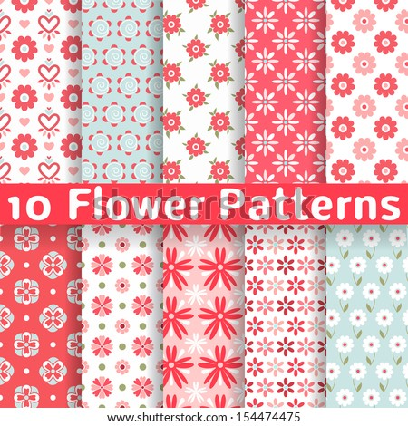 10 Different flower vector seamless patterns (tiling). Romantic chic texture can be used for printing onto fabric and paper or scrap booking. Pink, white and blue colors. For baby, girl and woman. - stock vector