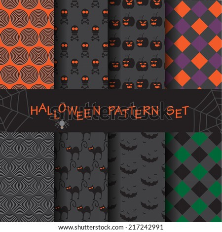 8 different funny and cute halloween seamless patterns set. Endless texture can be used for wallpaper, pattern fills, web page,background,surface - stock vector