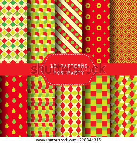 10 different geometric seamless  patterns. party concept, Endless texture can be used for wallpaper, pattern fills, web page background,surface textures.