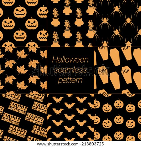 8 different Halloween seamless patterns - stock vector