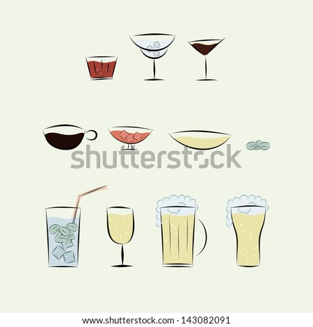11 different icons of alcoholic and non-alcoholic beverages - stock vector