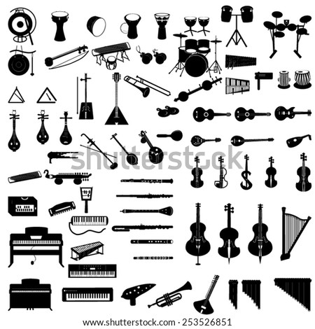 different-instruments-icon-set - stock vector