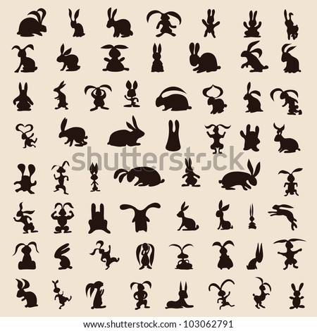60 different original rabbits on the background