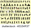100 different people silhouettes - stock vector