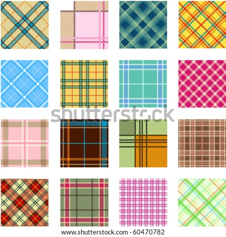 16 different plaid patterns - stock vector