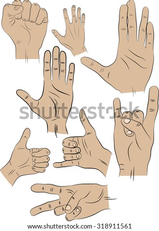 8 different positions of the hands