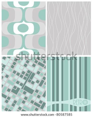 4 different retro designs - green / gray - stock vector