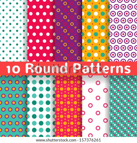 10 Different round shape vector seamless patterns (tiling). Endless texture can be used for printing onto fabric and paper or scrap booking. Diagonal, polka design wallpaper in light bright color. - stock vector