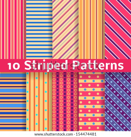 10 Different striped vector seamless patterns (tiling). Texture can be used for printing onto fabric and paper or scrap booking. Diagonal, vertical and horizontal design wallpaper in bright colors. - stock vector