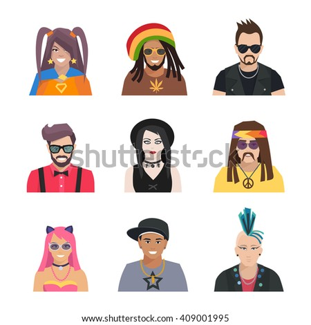 Different subcultures portrait people in flat style isolated icons set vector illustration  - stock vector