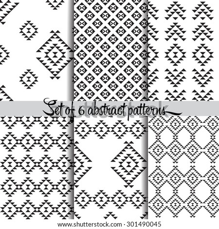 6 different vector patterns. Endless texture can be used for wallpaper, pattern fills, web page background,surface textures. Set of monochrome geometric. - stock vector