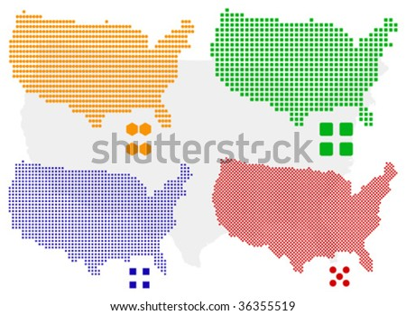 4 different vector pixel map of USA.