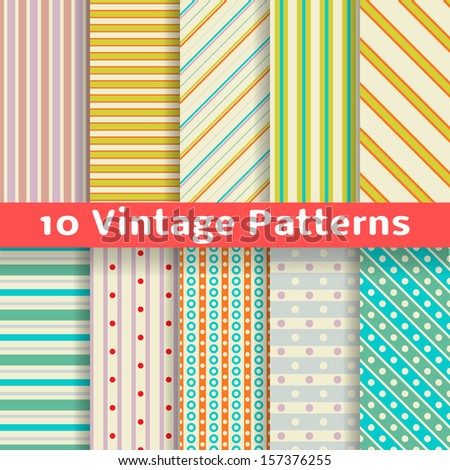 10 Different vintage stripe vector seamless patterns (tiling). Endless texture can be used for printing onto fabric and paper. Diagonal, vertical, horizontal wallpaper with dots in retro pastel colors - stock vector