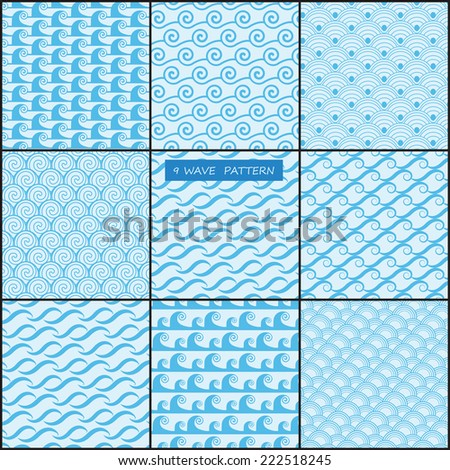 9 different wave seamless patterns. Endless texture can be used for wallpaper, pattern fills, web page background,surface textures. - stock vector