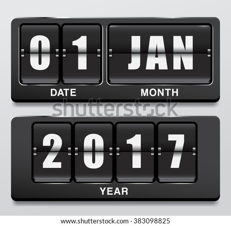 2017 Digital Calendar In Flip Scoreboard Theme : Vector Illustration