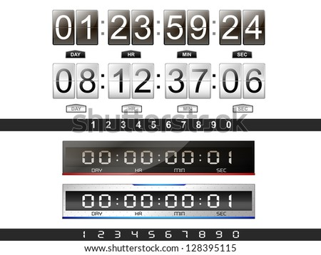 4 digital countdown timer in the vector - stock vector