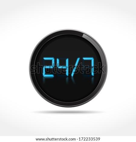 24/7 digital icon, vector eps10 illustration - stock vector