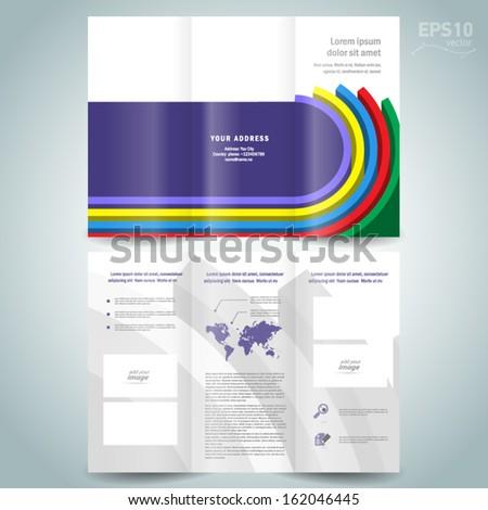 dimensional colored line brochure design template folder leaflet - stock vector