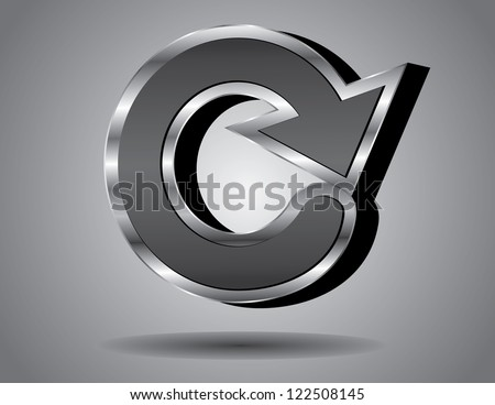 3-dimensional icon symbol capital letter C - stock vector