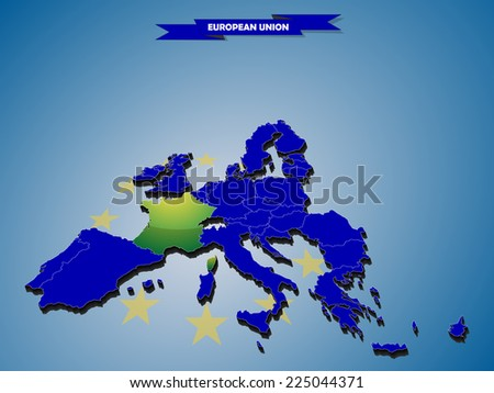 3 dimensional infographics map of European Union countries, with every state easy selectable and editable in one click. France highlighted in green, content labeled in Layers panel. - stock vector