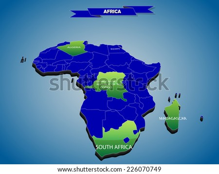 3 dimensional infographics political map of African continent, with every state easy selectable and editable in one click.Content labeled in Layers panel. - stock vector