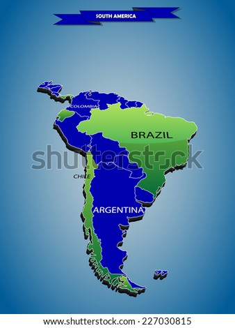 3 dimensional infographics political map of South American continent, with every state easy selectable and editable in one click.Content labeled in Layers panel.  - stock vector
