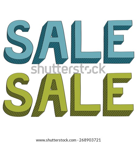 3 dimensional sign Sale - hand drawn  - stock vector