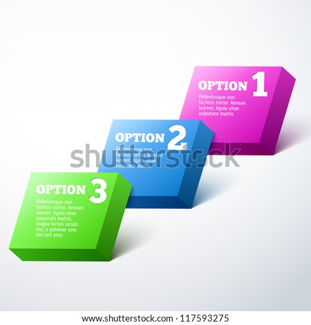 3-dimensional Vector Progress background / product choice or versions. - stock vector