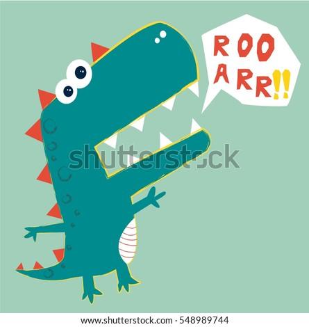 Dinosaur Vector Illustration Tshirt Graphics Kids Vector