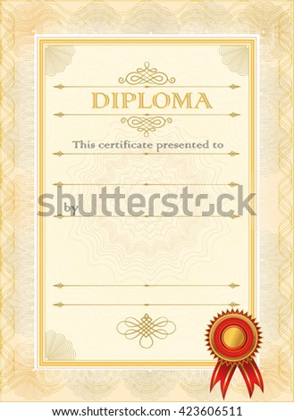 Diploma Blank Certificate Template Stock Vector   Shutterstock