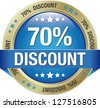 70 discount blue gold button isolated background  - stock photo