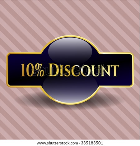 10% Discount gold emblem or badge - stock vector