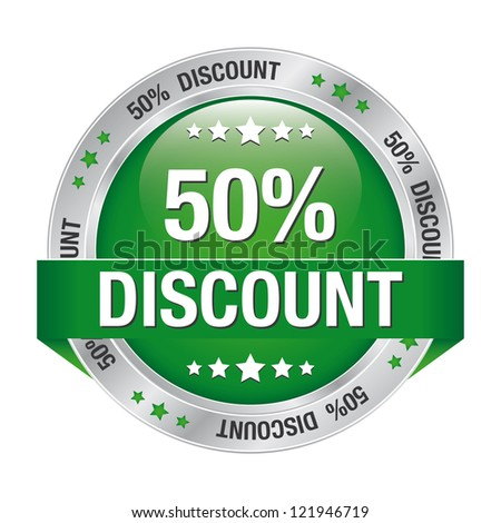 50 discount green silver button isolated background - stock vector