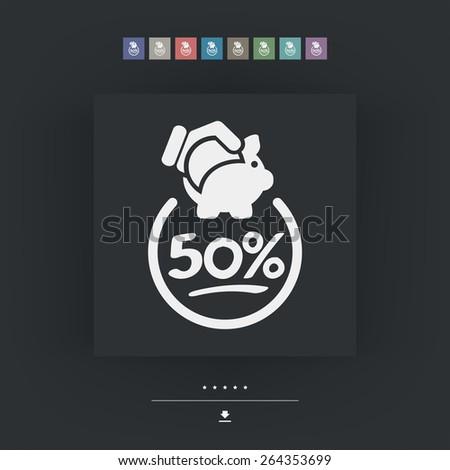 50% Discount label icon - stock vector