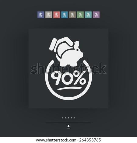 90% Discount label icon - stock vector