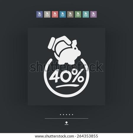 40% Discount label icon - stock vector