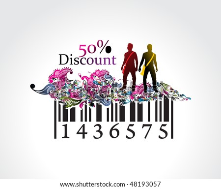 50% discount, man showing of discount in barcode element concept. Vector illustration. - stock vector
