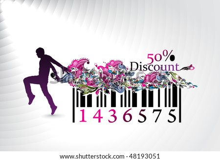 50% discount, man showing of discount in barcode element concept. Vector illustration. No mesh in this Vector - stock vector