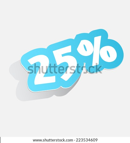 25% Discount price tags twenty-five percent blue stickers with shadow 3d label. vector illustration - stock vector